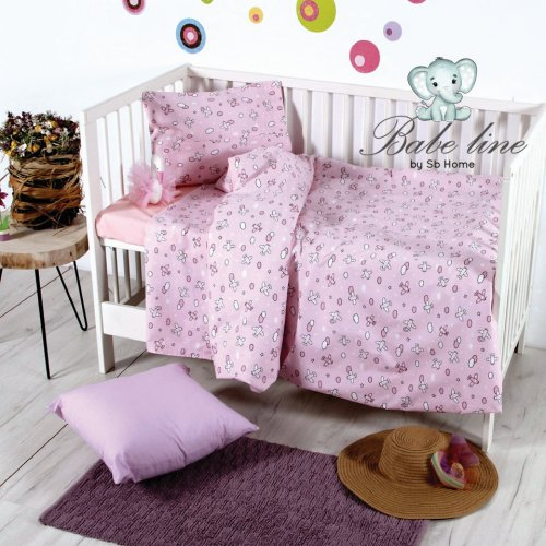 SB HOME Σετ Σεντόνια Κούνιας Εμπριμέ Baby Camy Pink 120χ160εκ.
