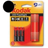KODAK Φακός 9-LED Μαύρος + 3 x KODAK Μπαταρίες AAA