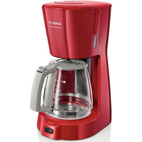 BOSCH TKA3A034 CompactClass Extra Καφετιέρα Φίλτρου Κόκκινη 1100W - 1.25 lt - Για 10 κούπες