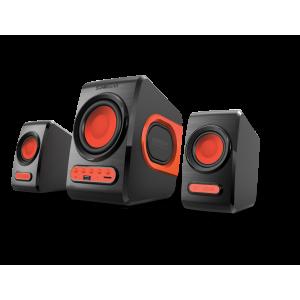 SONIC GEARS QUATROVBFR Ηχεία με FM & Usb Powered Xtreme Bass 2.1 Μαύρο/Κόκκινο