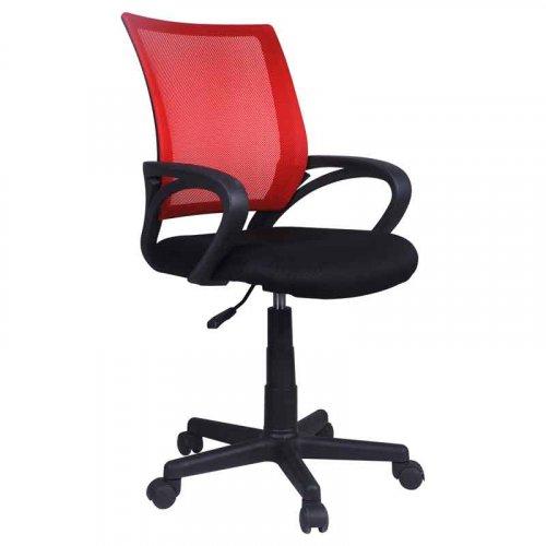 FYLLIANA 093-15-059 Καρέκλα Γραφείου  5518 με Μπράτσα Μαύρη με Κόκκινη Πλάτη