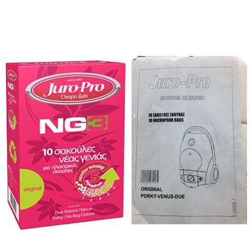 JURO-PRO NG3 για Due Sistem/Venus/Porky Σακούλες Ηλεκτρικής Σκούπας 10τμχ 520010