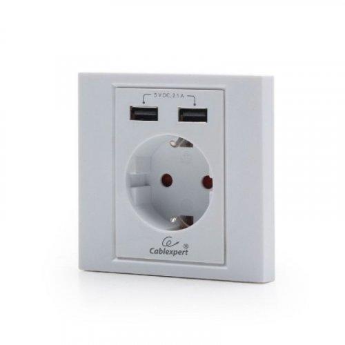 CABLEXPERT MWS-ACUSB2-01 Πρίζα Τοίχου & Φορτιστής (2 σε 1) με 2 USB Ports Λευκό