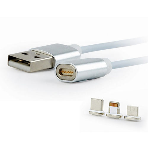 CABLEXPERT Μαγνητικό Καλώδιο 3 in 1 USB Charging Combo Cable - Silver 1m