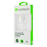 LAMTECH LAM441013 Datacable iPhone 5/6/7 2m (non MFi) - White