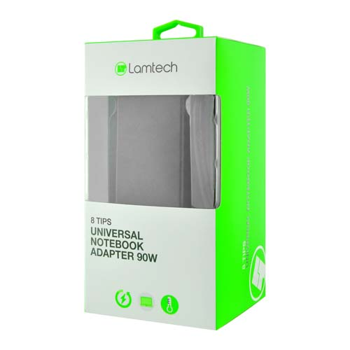 LAMTECH LAM100037 Universal Notebook Adapter 90W 19V-20V 8 Tips 0015577