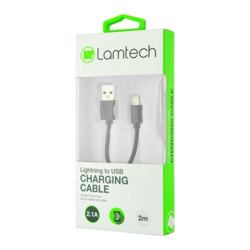 LAMTECH LAM444526 DATACABLE iPhone 5/6/7 2m (non MFi) - BLACK