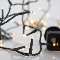 EUROLAMP 600-11521 180 Χριστουγεννιάτικα Λαμπάκια Θερμό Λευκό LED ανά 5εκ. IP44 σε Σειρά με Πρόγραμμα 12,15μ.