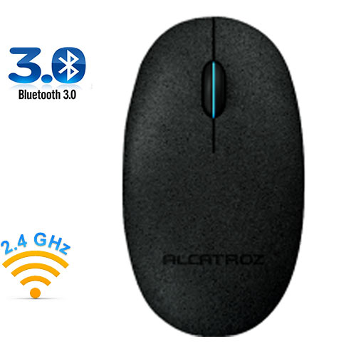 ALCATROZ PABS Bluetooth 3.0/Wireless 2.4G Mouse Pebble Air Black Stone