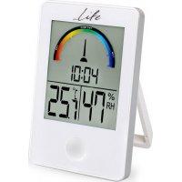 LIFE WES-101 Ψηφιακό Θερμόμετρο/Υγρόμετρο Εσωτερικού Χώρου με Ρολόι & Εγχρωμη Απεικόνιση Επιπέδου Υγρασίας Λευκό