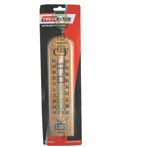 TECHBOSS 5615 Θερμόμετρο Ξύλινο με Υδράργυρο