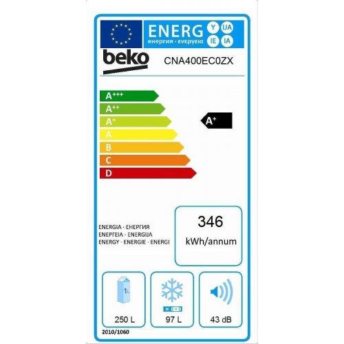 BEKO CNA 400 ECOZ X Ψυγειοκαταψύκτης 356 lt - A+ - No Frost - Inox -  (Β χ Π χ Υ):  65  χ 59.5 χ 201 cm 0012065
