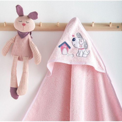 SB HOME  Κάπα Με Κουκούλα Bebe Κέντημα Puppy Pink 0024413